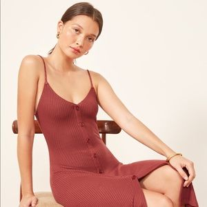 REFORMATION CASEY DRESS RUST SMALL